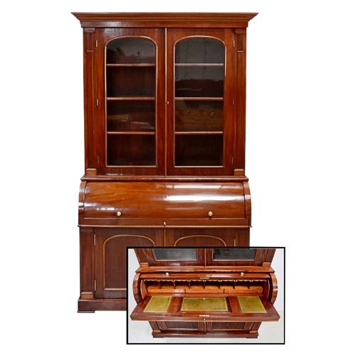 Bibliothek Zylinder Schreibtisch, Mahagoni, Herkunft England, viktorianische Zeit - Mitte des 19. Jahrhunderts