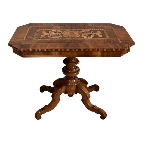 Eingelegter Gueridon-Tisch aus Walnuss und hellem Holz - 2. Hälfte des 19. Jahrhunderts
