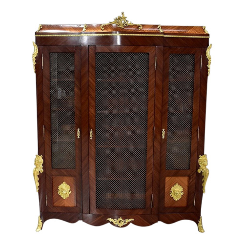 Bookcase in Blond Mahogany and Violet Wood, Louis XV taste - Late 19th century