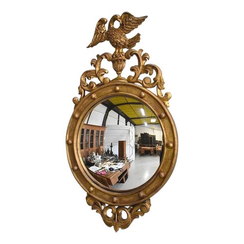 Old-fashioned Golden Wood Witch Mirror - Late 19th Century