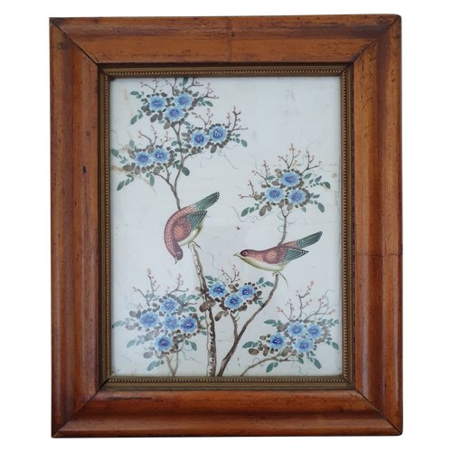 China 19th century, painting of two birds and flowers on rice paper (pith paper)