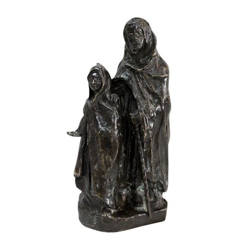"""Bronze with Brown Patina, """"The Child and the Blind"""", by B. Girardet - Early 20th Century"""