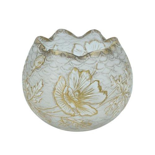 """François Théodore Legras - Montjoye - """"chinesische"""" Kugelvase - Glas mit Säure und Gold geätzt - Frankreich, um 1900."""