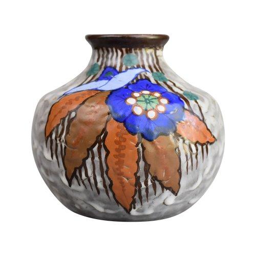 Louis Auguste Dage - Art-Deco-Vase - Signiert - Polychromer Sandstein - Frankreich, um 1920.