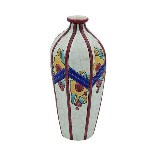 Longwy – Vase Art Déco – Cachet – Faïence et émaux cloisonnés – France, vers 1925.