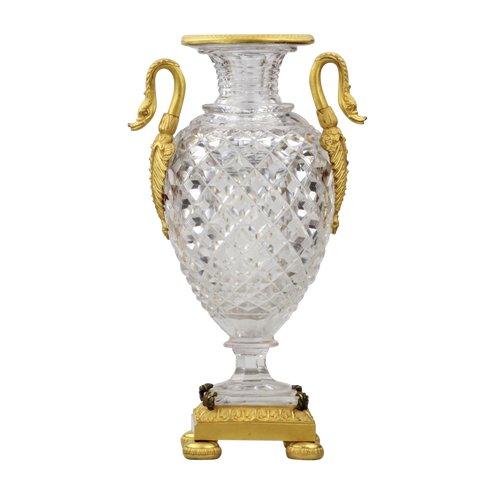 Vase en cristal et bronze doré