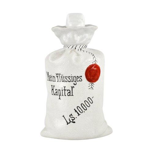 """Eine Porzellanflasche mit dem Slogan """"Mein flüssiges Kapital"""""""