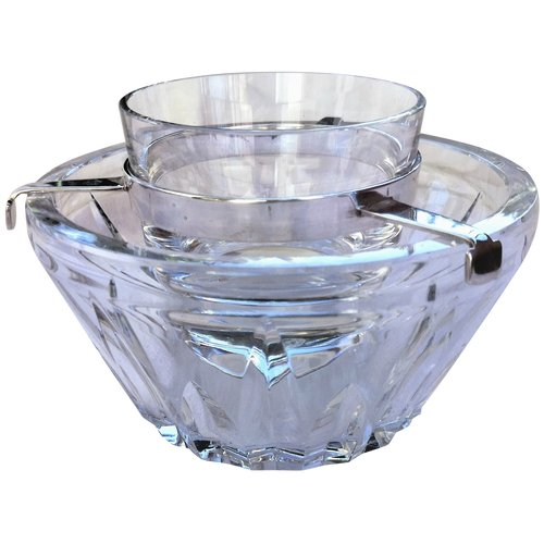 Rare and large crystal cooler signed Baccarat