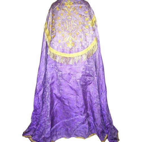 Chape ou Pluvial en damas violet 19e siècle