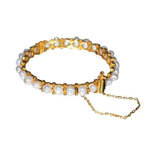 Bracelet Rigide Vintage En Or Et Perles