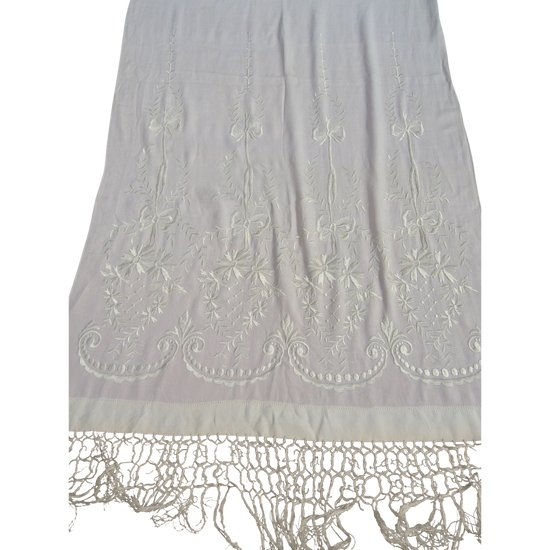 Crepe stole with embroidered fringes early 20th century