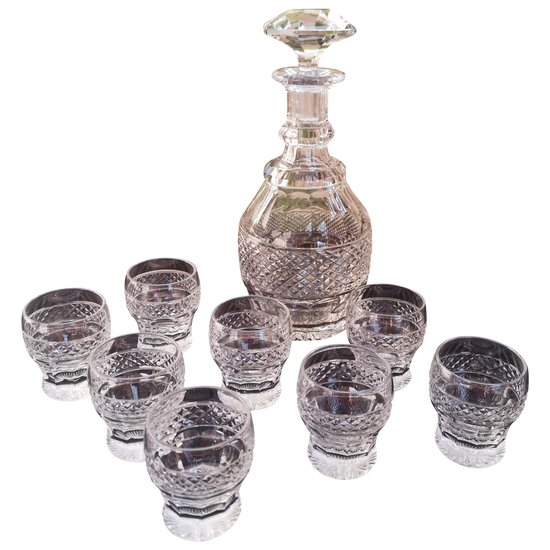 """Saint-Louis Kristall """"Trianon"""" Likör Service (1 Karaffe + 8 Gläser)"""