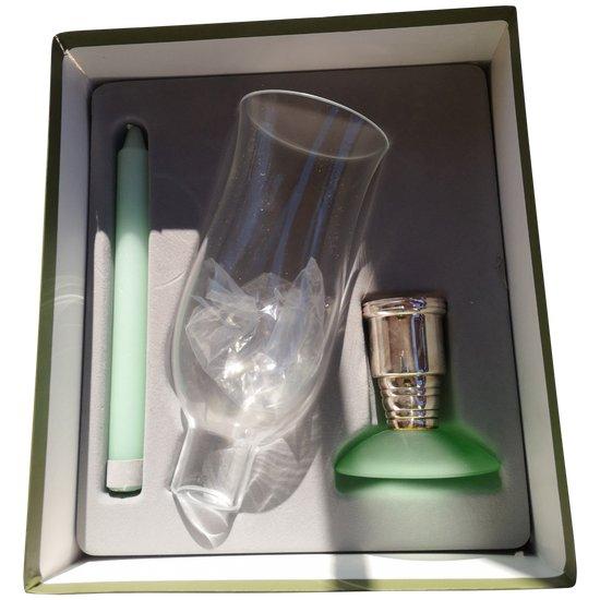 Coffret : original photophore pâte de verre/métal argenté/verre signé Christofle