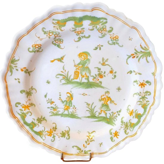 Earthenware plate: 18th century Moustiers.