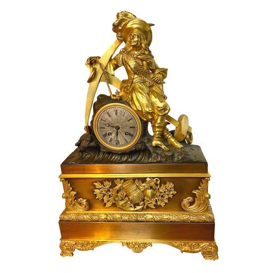 Vergoldete Bronzeuhr aus dem 19. Jahrhundert Napoleon III
