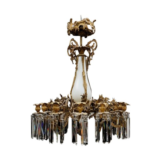 Gilt bronze chandelier in the Rococo style